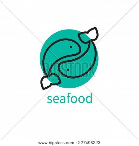 Seafood Logo. Icon Canned Fish, Fish Store, Restaurant, Cafe, See Food, Abstract Round Shape Of Yin