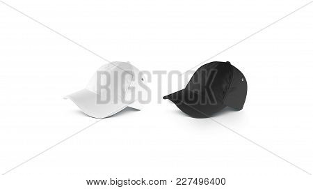 Blank Black And White Lying Baseball Cap Mockup Set, Side View. Clear Snap Back Mock Up, Isolated. E