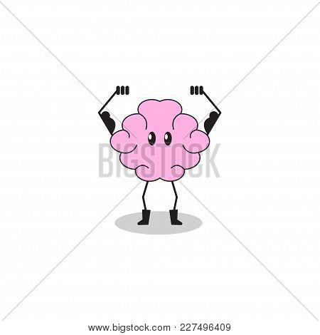 Brain Training. Cartoon Character Brain Performing Exercise, Mental Health, Strong Intellect, Smart