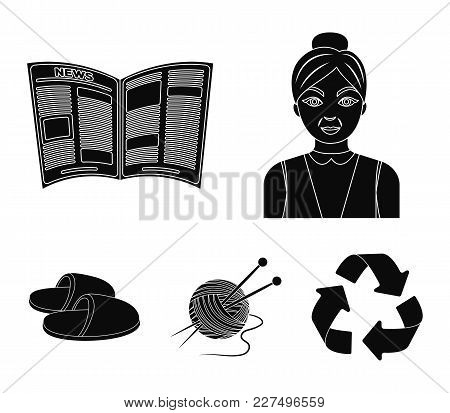 An Elderly Woman, Slippers, A Newspaper, Knitting.old Age Set Collection Icons In Black Style Vector