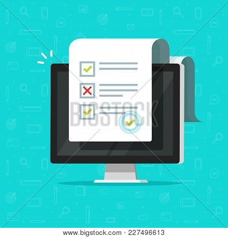 Online Form Survey On Computer Vector Illustration, Flat Cartoon Desktop Pc Showing Long Quiz Exam P