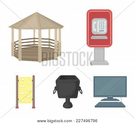 Telephone Automatic, Gazebo, Garbage Can, Wall For Children. Park Set Collection Icons In Cartoon St