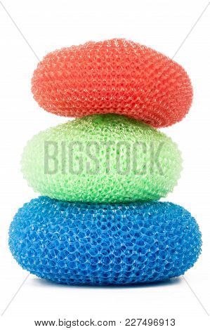 Tower Of Vibrant Plastic Scourers Isolated On White Background