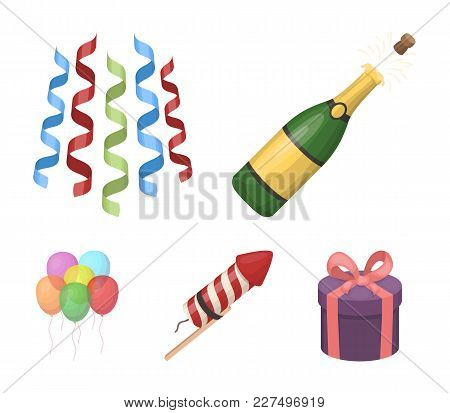 Champagne, Fireworks And Other Accessories At The Party.party And Partits Set Collection Icons In Ca
