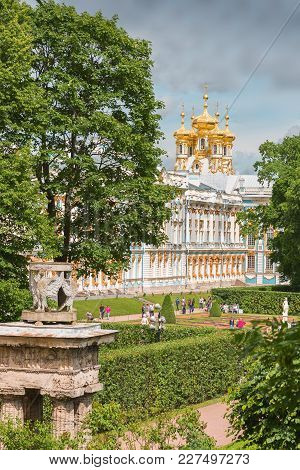 Catherine Palace In Tsarskoye Selo (pushkin) With The Church Of The Resurrection, St. Petersburg