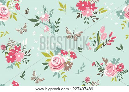Seamless Pattern With Flowers And Butterfly. Vector Floral Background