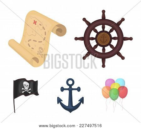 Pirate, Bandit, Rudder, Flag .pirates Set Collection Icons In Cartoon Style Vector Symbol Stock Illu