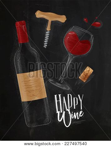 Wine Elements Illustrated Bottle, Glass, Cork, Corkscrew Lettering Happy White Drawing In Vintage St