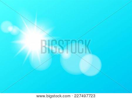 Sun Light Bokeh Lens Template On Blue Sky Background. Counterlight Lensflare Luminosity. Vector Empt
