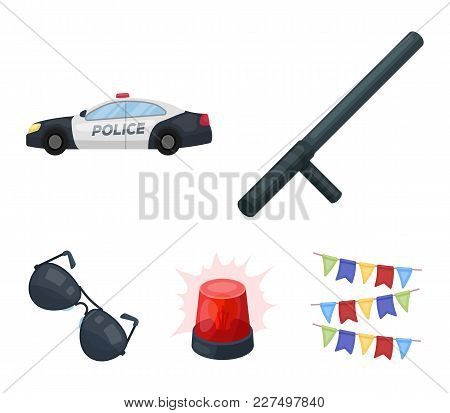 Police Baton, Auto, Flasher, Glasses.police Set Collection Icons In Cartoon Style Vector Symbol Stoc