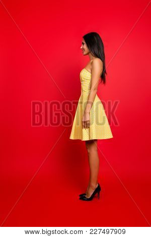 Vertical Side Profile Full-length Portrait Of Chic Romantic Excited Cheerful Cute Lovely Sweet Elega