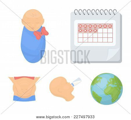 Calendar, Newborn, Stomach Massage, Artificial Feeding. Pregnancy Set Collection Icons In Cartoon St