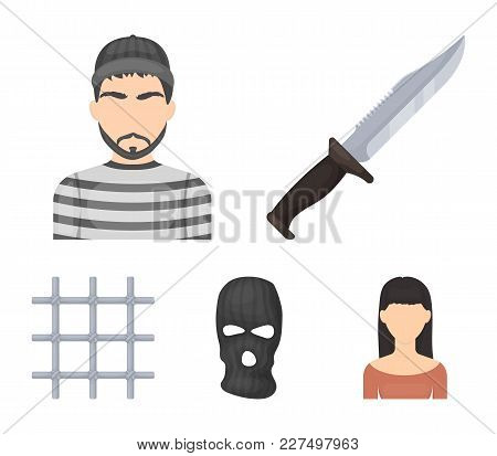 Knife, Prisoner, Mask On Face, Steel Grille. Prison Set Collection Icons In Cartoon Style Vector Sym