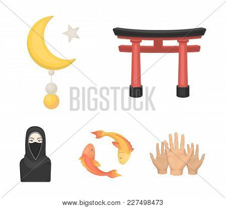Torii, Carp Koi, Woman In Hijab, Star And Crescent. Religion Set Collection Icons In Cartoon Style V