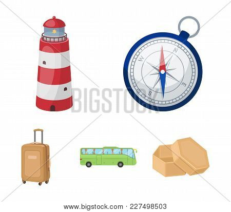 Vacation, Travel, Lighthouse, Compass .rest And Travel Set Collection Icons In Cartoon Style Vector