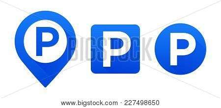 Vector Set Parking Signs. Map Parking Pointer. Vector Set Parking Icons. Parking Place Sign Isolated