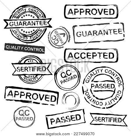 Quality Control Stamps In Differeint Shapes. Vector Illustration In Black Color Isolated On A White
