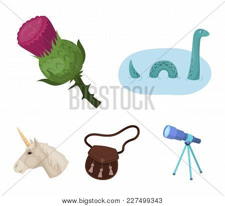 Loch Ness Monster, Thistle Flower, Unicorn, Sporan. Scotland Country Set Collection Icons In Cartoon