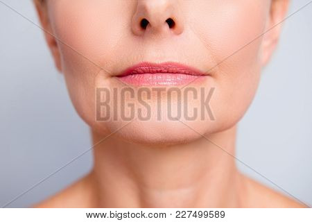 Perfect Natural Lip Maqullage. Close Up Macro Cropped Photo With Beautiful Attractive Female Mouth,
