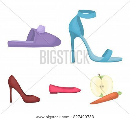 Blue High-heeled Sandals, Homemade Lilac Slippers With A Pampon, Pink Women's Ballet Flats, Brown Hi