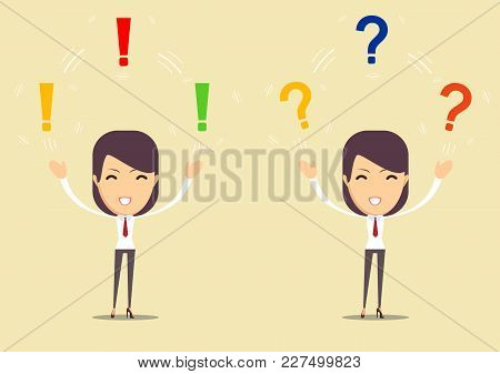 Beautiful Young Lady Thinking With Exclamation And Question Marks Overhead. Stock Flat Vector Illust