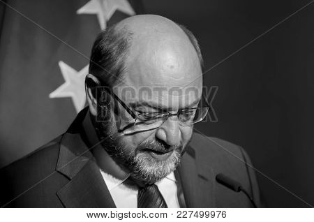 Brussels, Belgium. January 27, 2016. Martin Schulz, The President Of The European Parliament Speakin