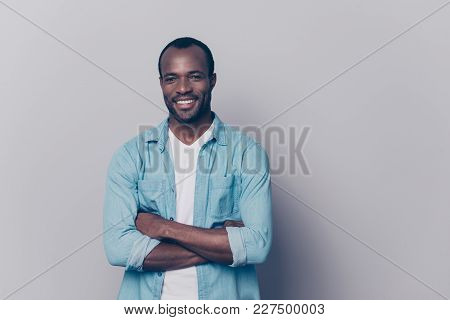 Portrait With Empty Place, Copy Space Of Sexy, Virile, Stunning Man With Beaming Smile Having His Ar