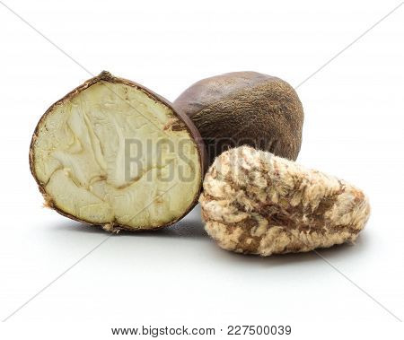 European Chestnuts (half, Peeled And Whole) Isolated On White Background Spanish Edible Raw Fresh Br