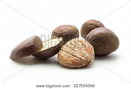 Three European Chestnuts One Sliced And Peel Spanish Edible Isolated On White Background Raw Fresh B