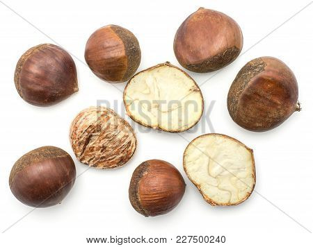 European Chestnuts Spanish Edible Whole Halved And Peel Isolated On White Background Raw Fresh Brown