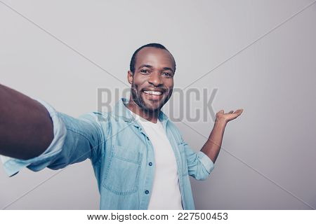 Welcome! Look There! Close Up Portrait Of Excited Cheerful Glad With Toothy Smile Dressed In Denim C