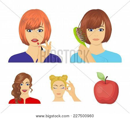 Hairdresser, Cosmetic, Salon, And Other  Icon In Cartoon Style.means, Hygiene, Care Icons In Set Col