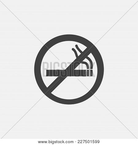 No Smoking Icon Vector Illustration. No Smoke Icon Vector