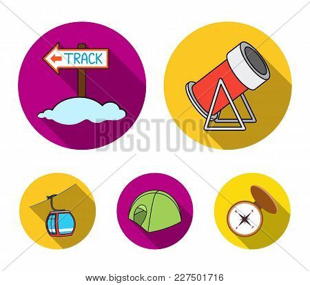 Funicular, Tent, Road Sign, Snow Cannon. Ski Resort Set Collection Icons In Flat Style Vector Symbol