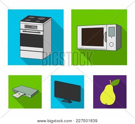 Home Appliances And Equipment Flat Icons In Set Collection For Design.modern Household Appliances Ve