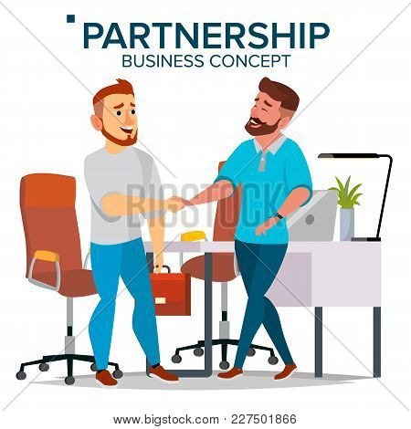 Business Partnership Concept Vector. Two Business Man. Closing Deal Document. Business Connection. F