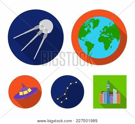Planet Earth With Continents And Oceans, Flying Satellite, Ursa Major, Ufo. Space Set Collection Ico