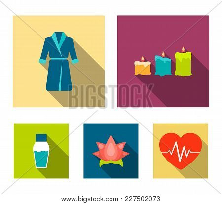 Multicolored Candles With A Flame, A Blue Robe With A Belt, A Lotus Flower With Petals, A Bottle Of