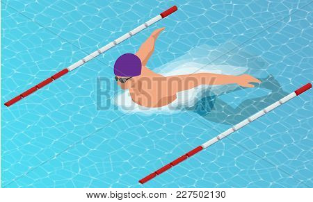 Isometric Male Swimmers Doing Butterfly Style In Different Swimming Lanes. Sports Background Vector