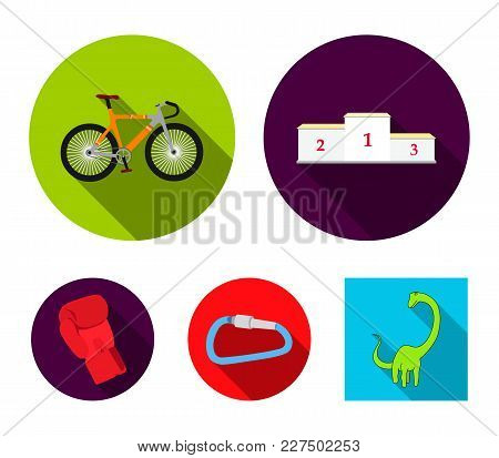 A Pedestal Of Honor For The Winners, A Bicycle, A Lock, A Boxer's Glove. Sport Set Collection Icons