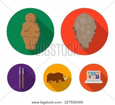 Primitive, Woman, Man, Cattle .stone Age Set Collection Icons In Flat Style Vector Symbol Stock Illu