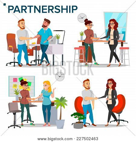 Business Partnership Set Vector. Business Man And Business Woman. Casual Handshaking. Business Conne