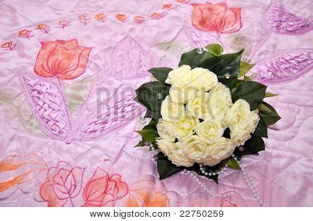 Bridal bouquet on a pink