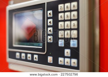 Control Panel Of The Computer-aided Manufacturing Equipment. Selective Focus.