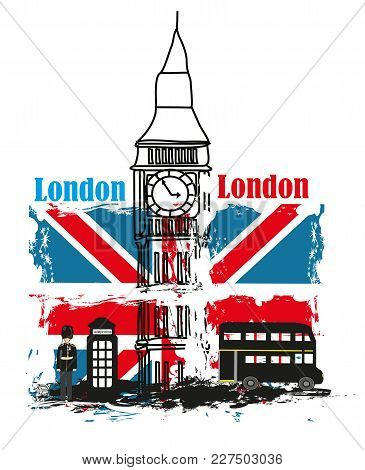 Grunge Banner - I Love London , Vector Illustration