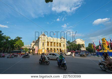 Hanoi, Vietnam - Aug 8, 2017: The Front Of The French Built Opera House In Hanoi