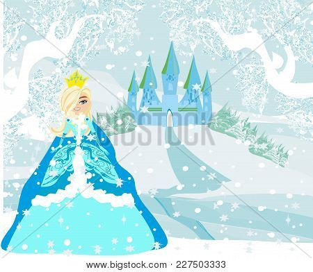 Beautiful Young Princess In Front Of Her Castle , Vector Illustration