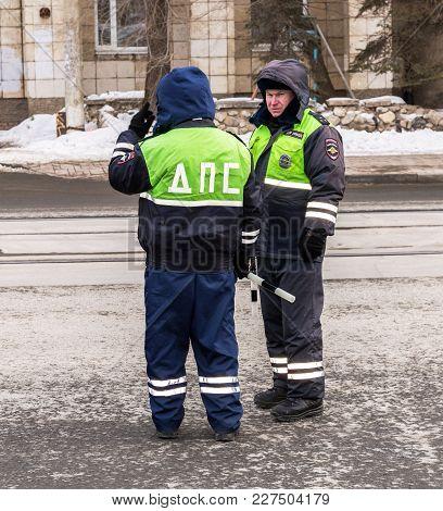 Samara, Russia - February 18, 2018: Russian Police Patrol Of The State Automobile Inspectorate Regul