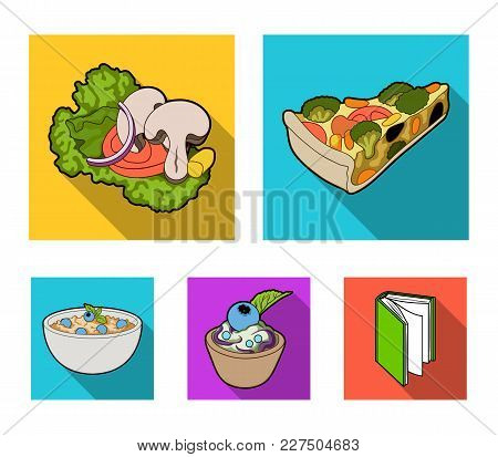 Piece Of Vegetarian Pizza With Tomatoes, Lettuce Leaves With Mushrooms, Blueberry Cake, Vegetarian S