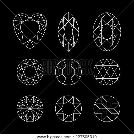 Diamond. Vector Set Of Gems Drawing Line. Crystal Forms. Geometric Shapes Of Precious Stones. Jewelr
